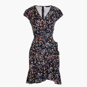 J.Crew Ruffle-Front Mini Dress in Navy Floral